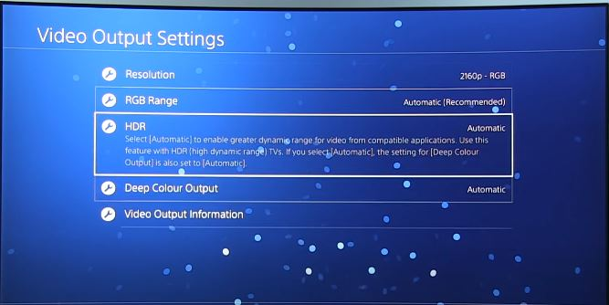 settings HDR on PS4
